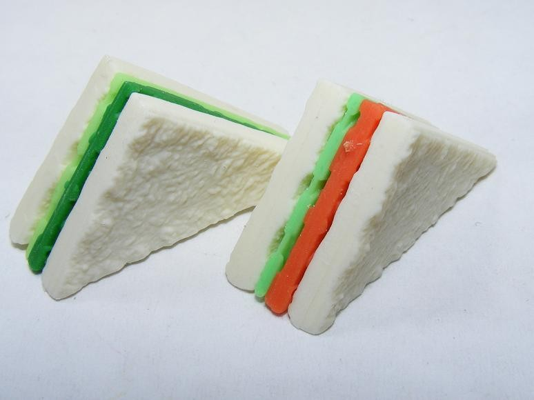 Dream Bakery Pair of Green and Tomato Sandwich Slices Japanese Eraser