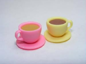 Dream Drinks Pair of mini Coffee (Yellow Cup) & Tea (Pink Cup) Eraser