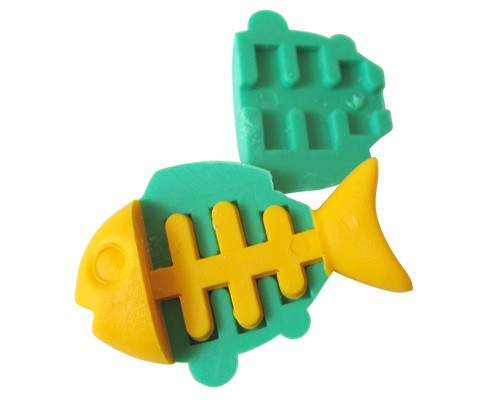Dream Sealife: Green Fish with Yellow Bone Japanese Eraser