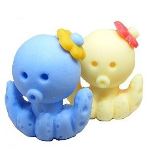 Dream Sea Animals Octopus Blue Yellow Pair Eraser