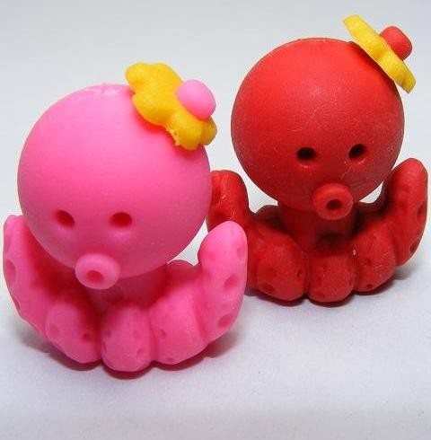 Dream Sea Animals Octopus Pink Red Pair Eraser