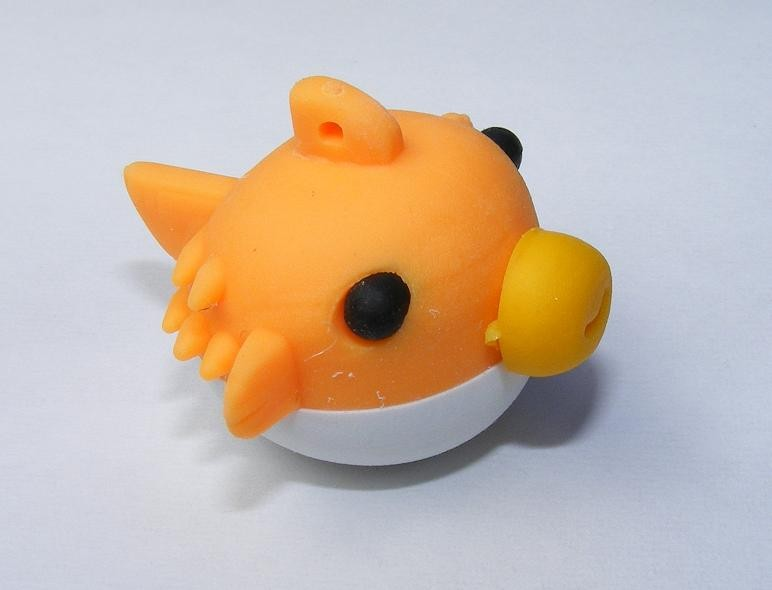 Dream Sealife: Orange Puffy Blow Fish Japanese Eraser