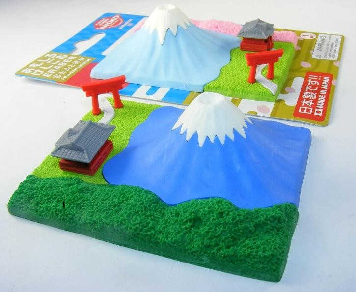 Iwako Darker Blue Fuji Mountain and Shrine in Green Forest Summer Season Japanese Erasers Blister Card