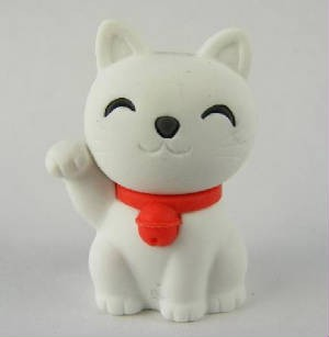 Iwako Lucky White Good Fortune Cat Japanese Eraser
