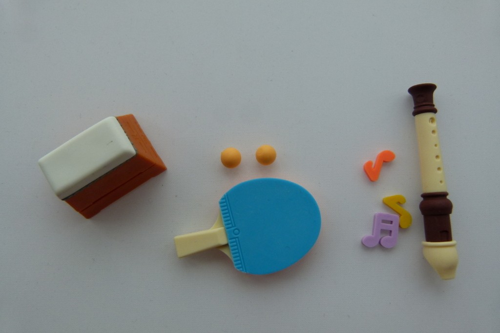Iwako 3 pieces School 2 - Gymnastic Equipment, Ping Pong and Flute Japanese Erasers