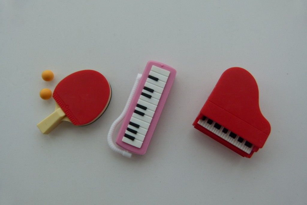 Iwako 3 pieces School 2 - Ping Pong, Keyboard and Piano Japanese Erasers