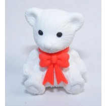 Iwako Red Ribbon White Teddy Bear Japanese Eraser