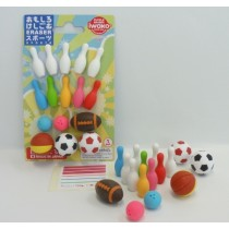 Iwako Sports Bowling Rugby Basketball Football Japanese Erasers Blister Card