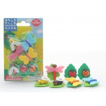 Iwako Bugs World Butterfly, Bee, Ladybird and Dragonfly Erasers Blister Card
