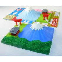 Iwako Bright Blue Fuji Mountain and Shrine in Pink Forest Spring Season Japanese Erasers Blister Card