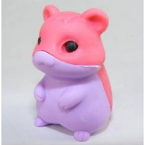 Iwako Red Pastel Purple Hamster Japanese Eraser