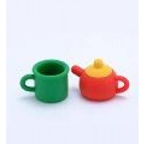 Iwako Kitchenware: Red Teapot & Green Cup set Japanese Eraser