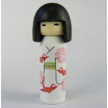 Iwako Kokeshi Japanese Doll in White Red Origami Kimono Pattern Eraser