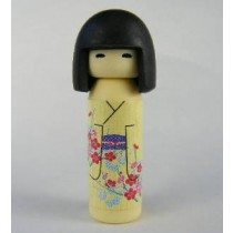 Iwako Kokeshi Japanese Doll in Yellow Red Flowers Kimono Pattern Eraser
