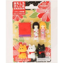 Iwako Maneki Neko (Lucky Cat) and Kokeshi Dolls with Tatami Pillow Japanese Erasers Blister Card