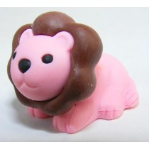 Iwako Safari Zoo Animals: Pink Dark Brown Lion King Japanese Eraser