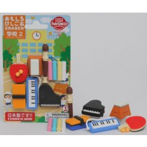 Iwako School Sport Music Instruments Japanese Erasers Blister Set