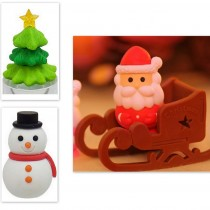 Iwako 4 pieces Christmas Tree Snowman Santa Claus Sleigh Japanese Erasers