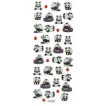 Iwako Gel Stickers -  Black and White Panda  38 Stickers Per Pack