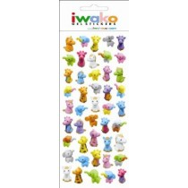 Iwako Gel Stickers -  Colourful Animals  45 Stickers Per Pack