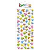 Iwako Gel Stickers -  Colourful Zoo Animal Elephant  61 Stickers Per Pack