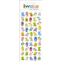 Iwako Gel Stickers -  Cute Little Animals  50 Stickers Per Pack