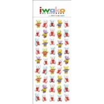 Iwako Gel Stickers -  Cute Teddy Bears  45 Stickers Per Pack
