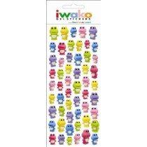 Iwako Gel Stickers -  Frogs  54 Stickers Per Pack
