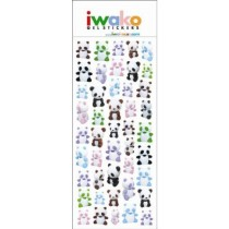 Iwako Gel Stickers -  Gu Gu Panda Bear  45 Stickers Per Pack