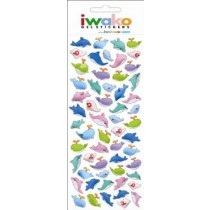 Iwako Gel Stickers -  Whale & Dolphin  57 Stickers Per Pack