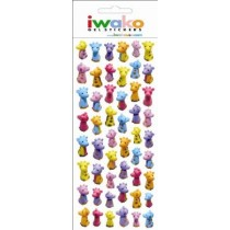 Iwako Gel Stickers -  Zoo Animal Giraffe  51 Stickers Per Pack