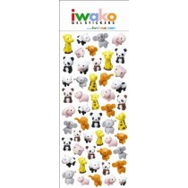 Iwako Gel Stickers -  Zoo Animals  50 Stickers Per Pack
