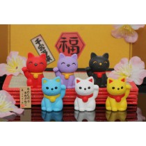 Iwako 6 new Fortune Cat Lucky Meko Japanese Erasers