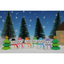 Iwako Snowman and Christmas Tree Japanese Erasers (7 pieces)