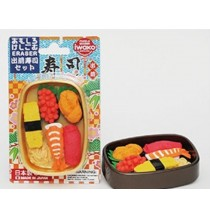 Iwako Sushi Japanese Erasers in Bento Box Set (Gold box)